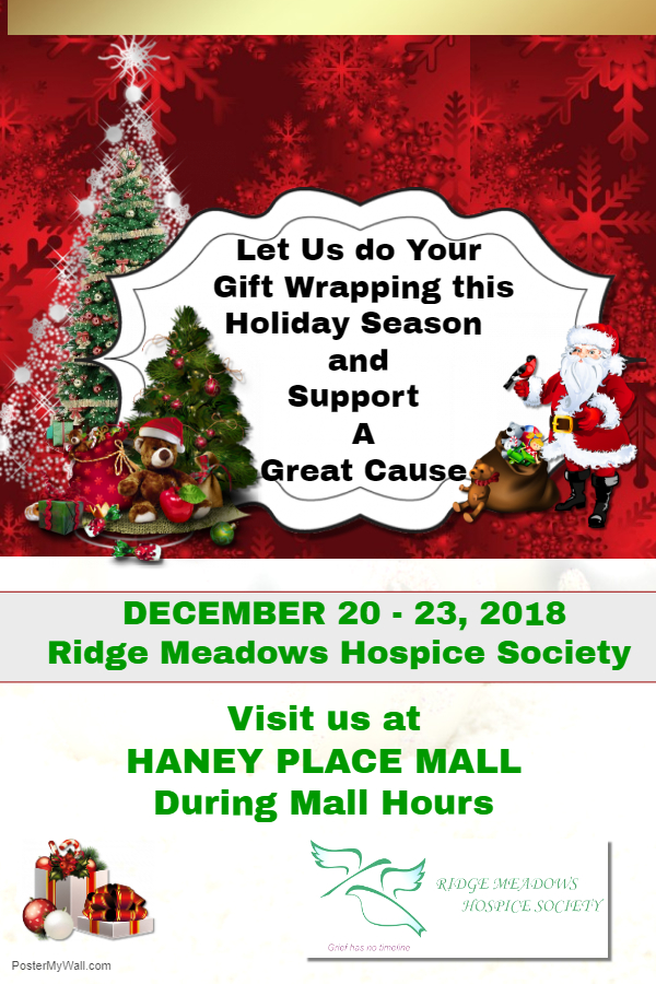 Gift Wrapping by Donation in support of the Ridge Meadows Hospice Society